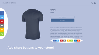 Example of inline and sticky share buttons on a store.