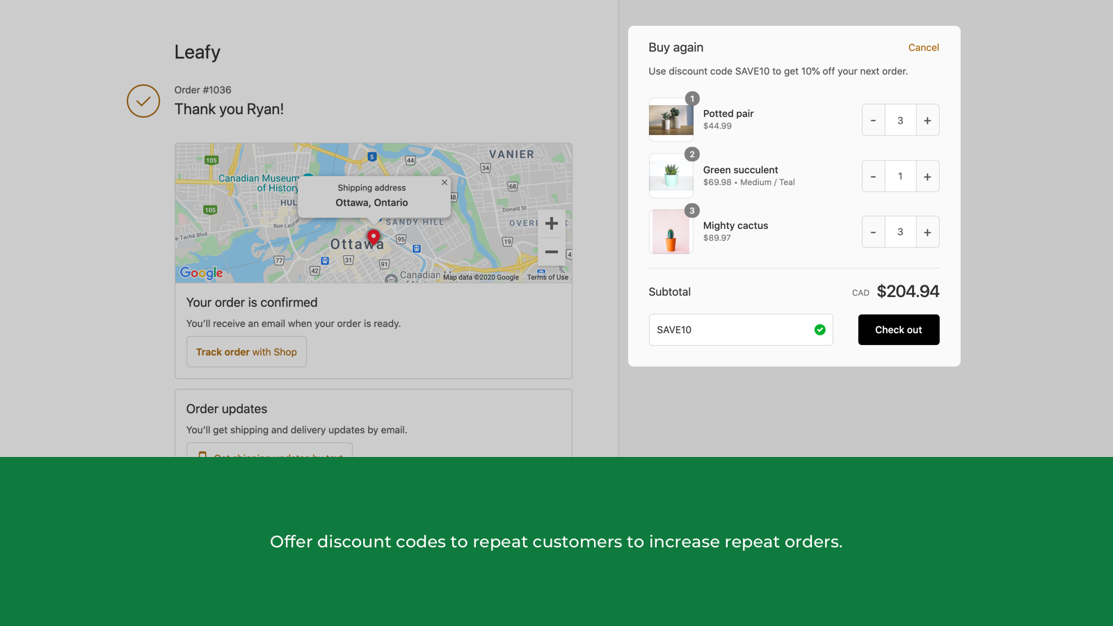 Offer discount codes to repeat customers to increase repeat orde