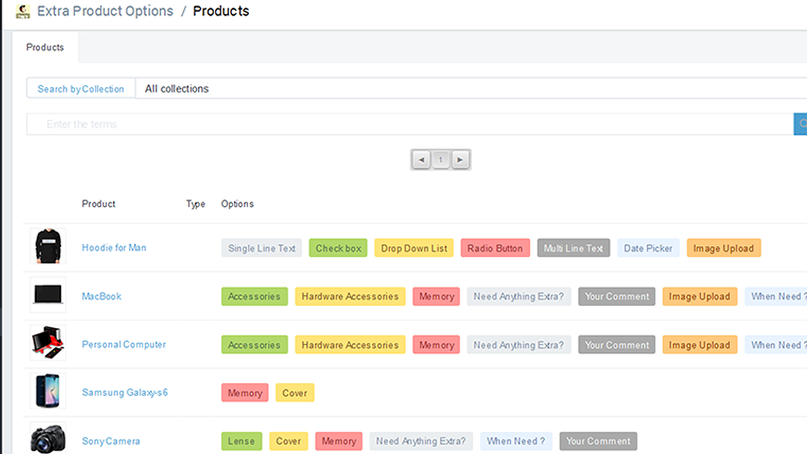 List of options per product in backend