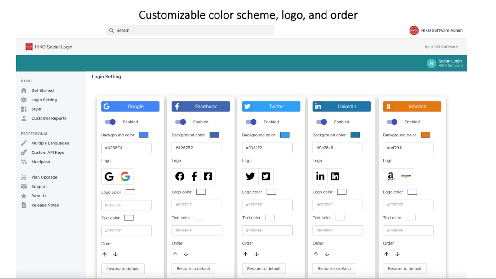 Customizable color scheme, logo, and order