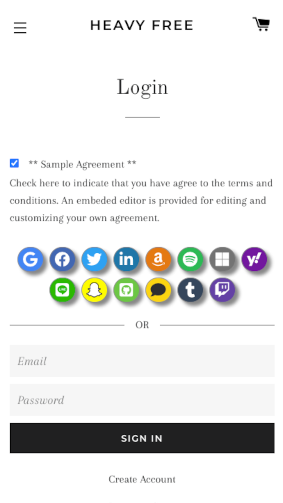 Display custom terms and privacy agreement.
