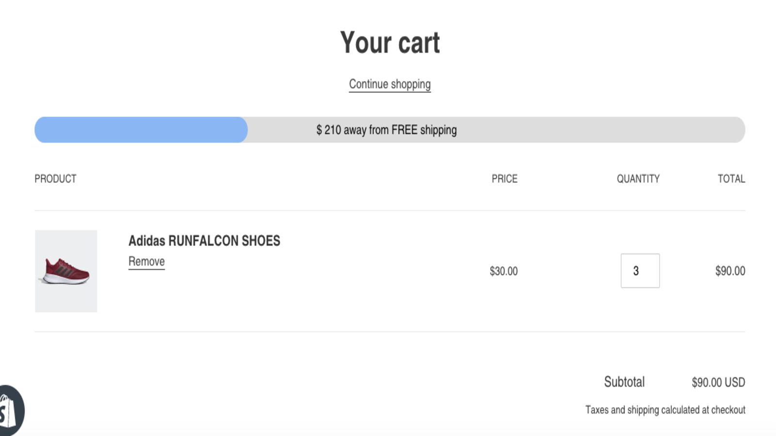 Free shipping bar on shopping cart page