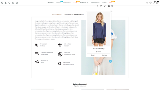 Lookbook in product page