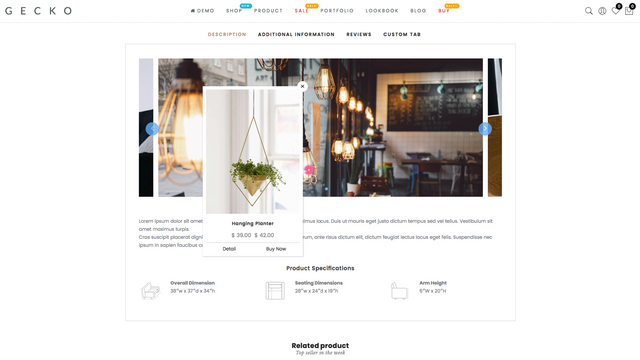 Lookbook slider in product page