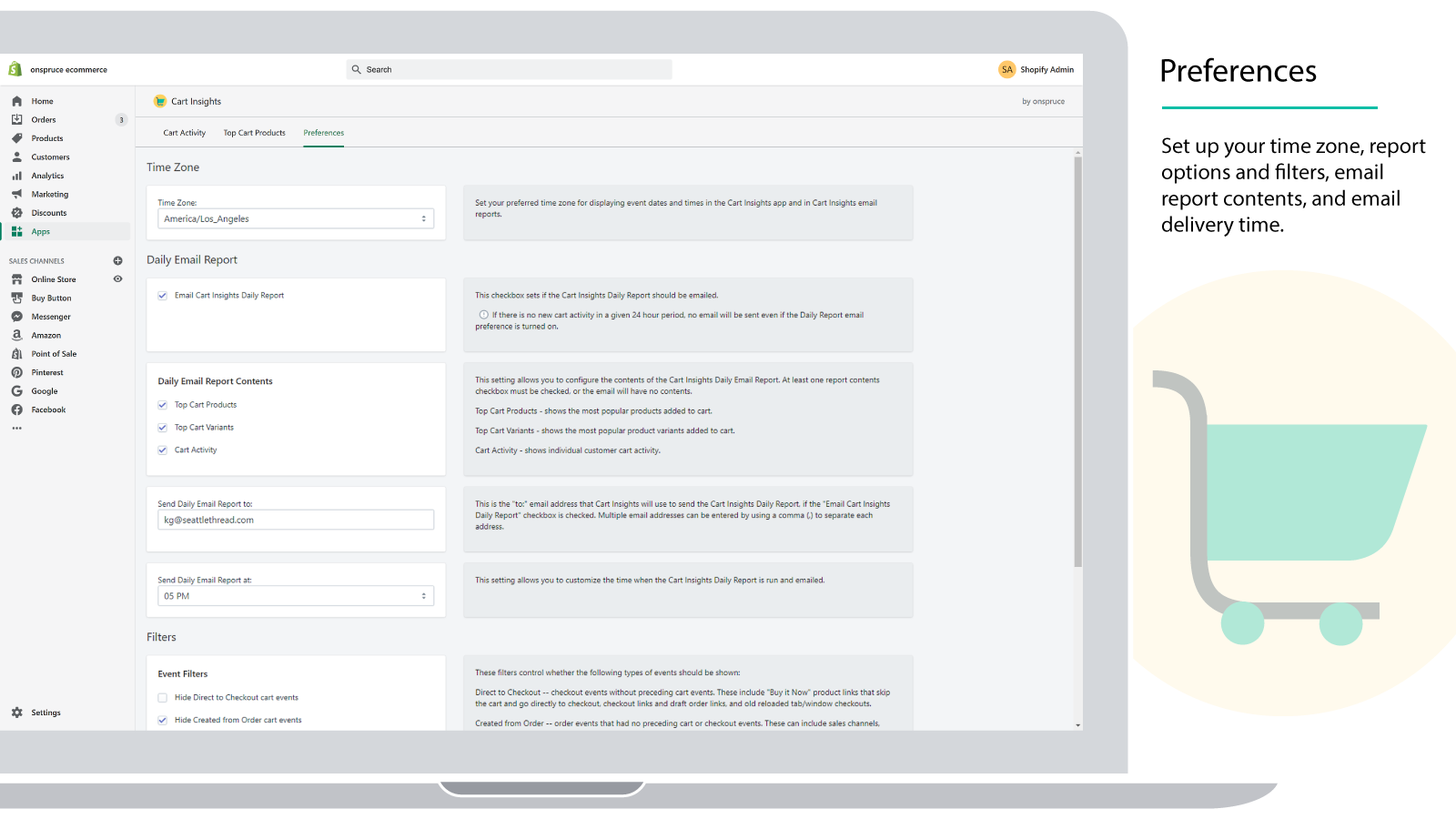 Set your timezone, report filters, email delivery and contents