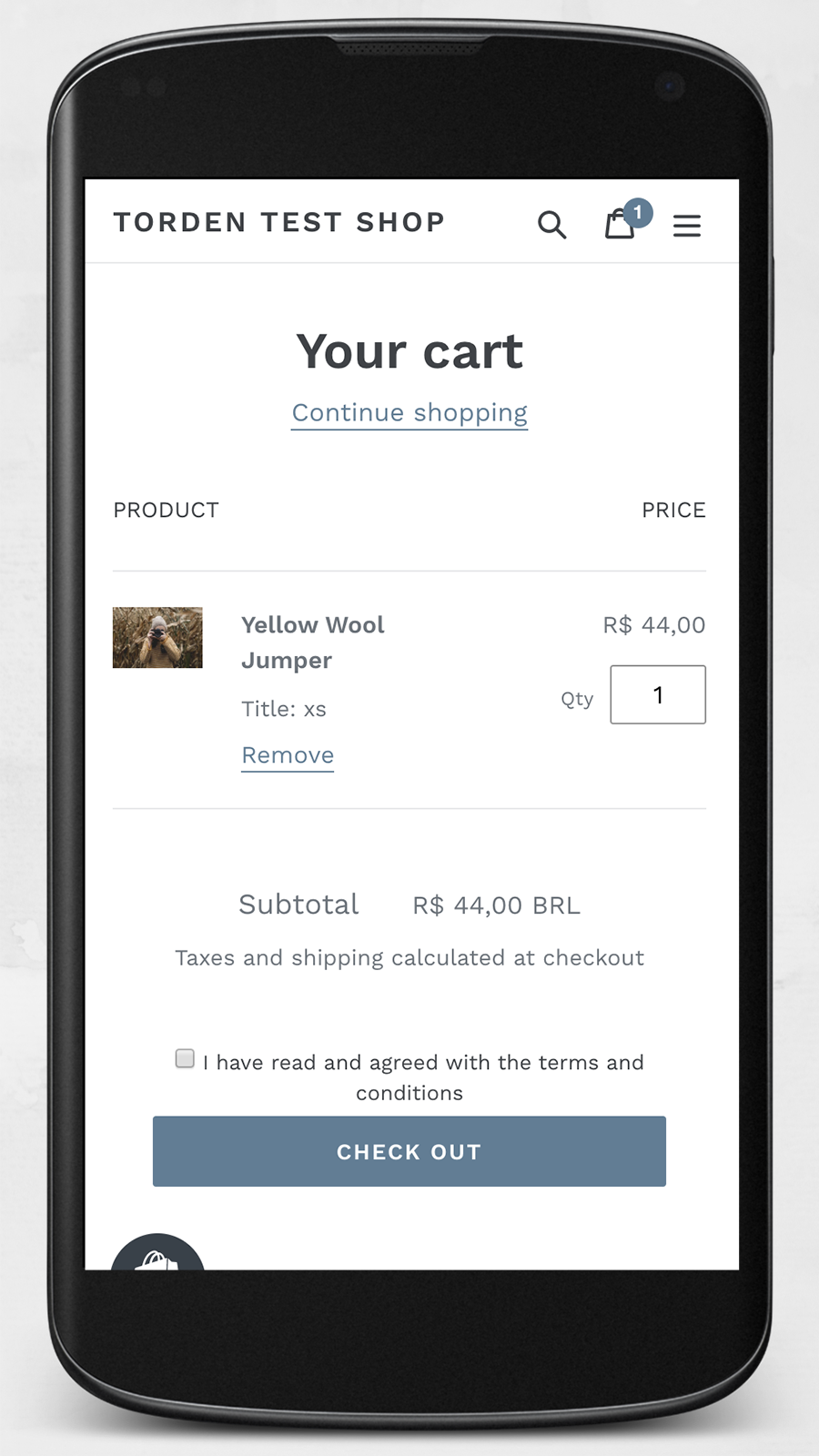 cart page mobile