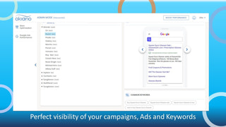 Perfect visibility of your campaigns, Ads and Keywords