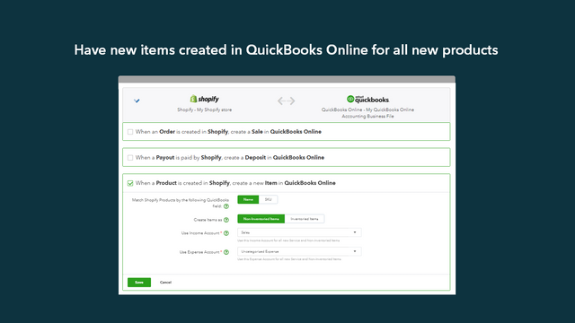 Have new items created in QuickBooks Online for all new products