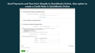 Send Payments and Fees from Shopify to QuickBooks Online.