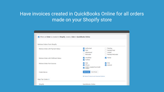 Have invoices created in QuickBooks Online for all orders made