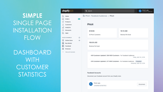 SIMPLE SINGLE PAGE INSTALLATION FLOW. DASHBOARD WITH STATS