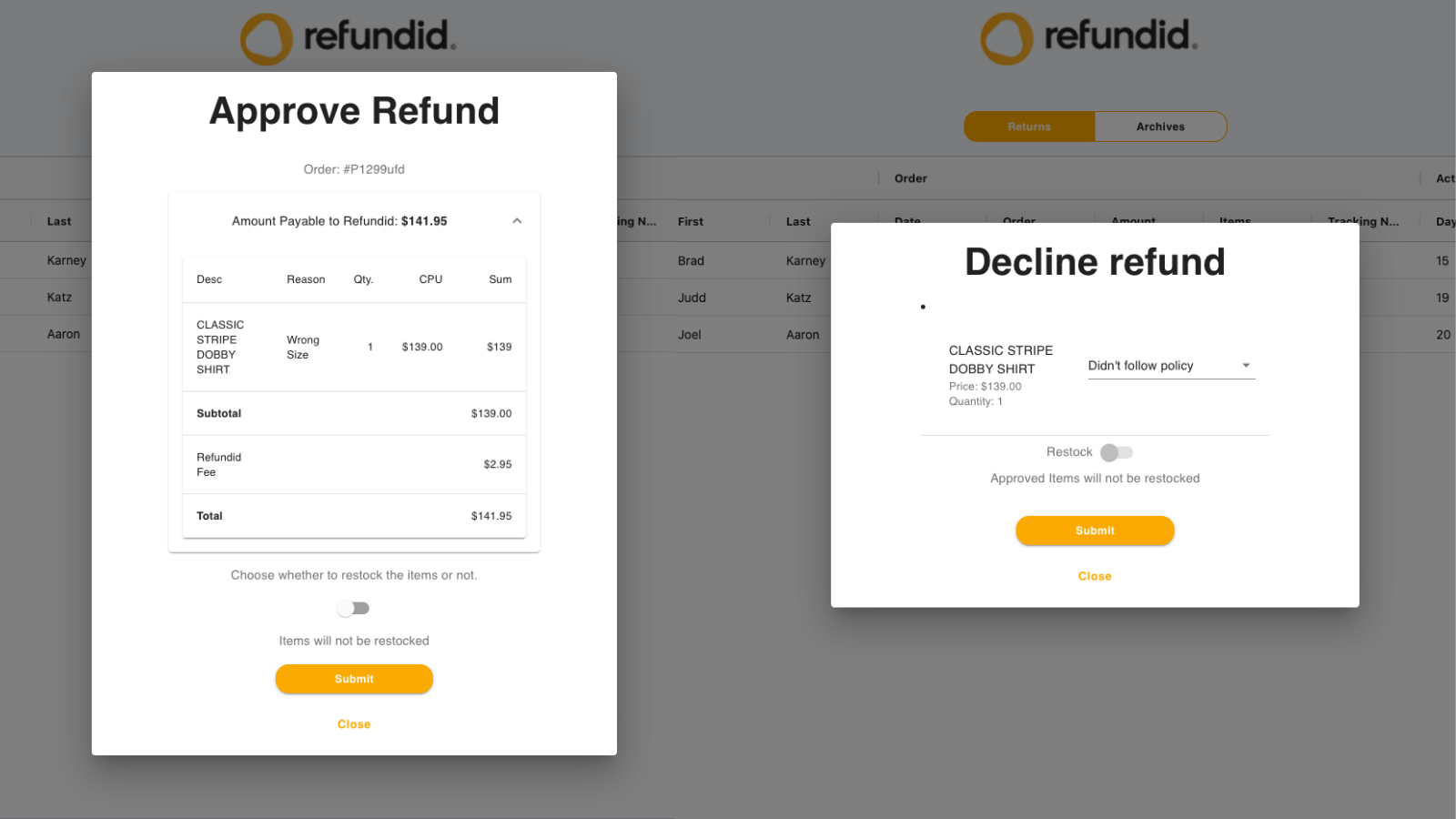 Approve or decline returns and restock them simply on Shopify