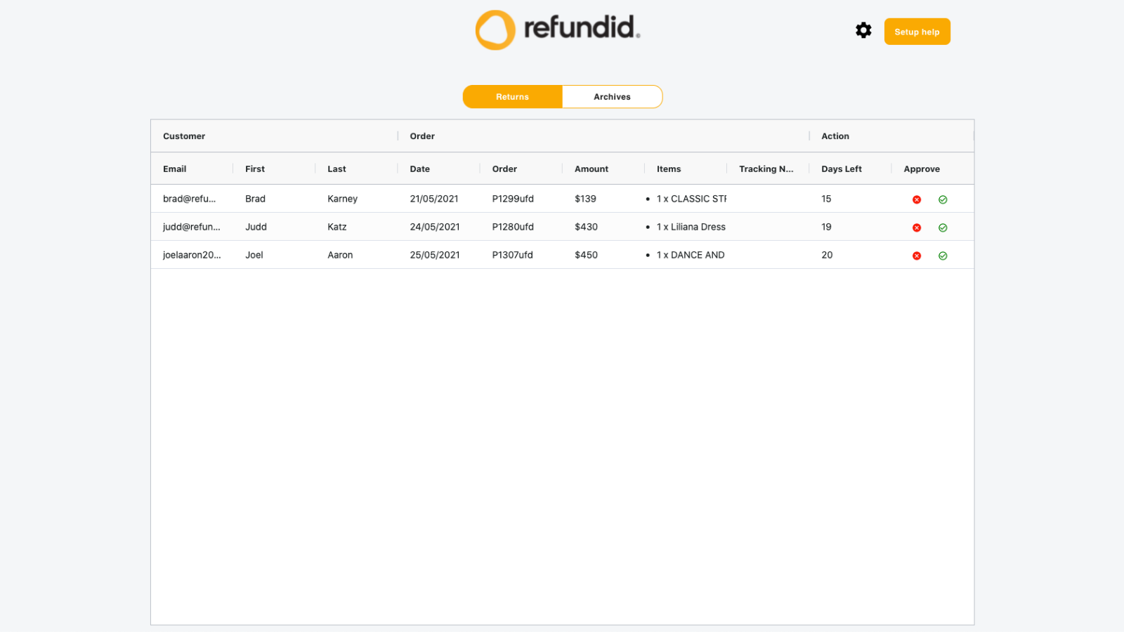 Easily view all incoming returns made through Refundid