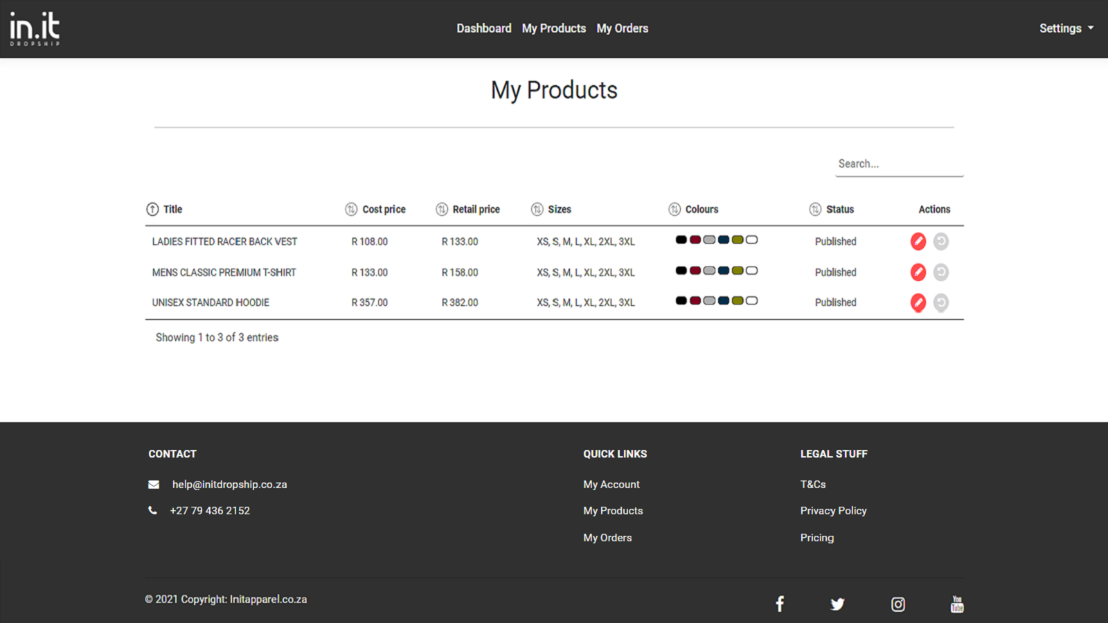 My products page