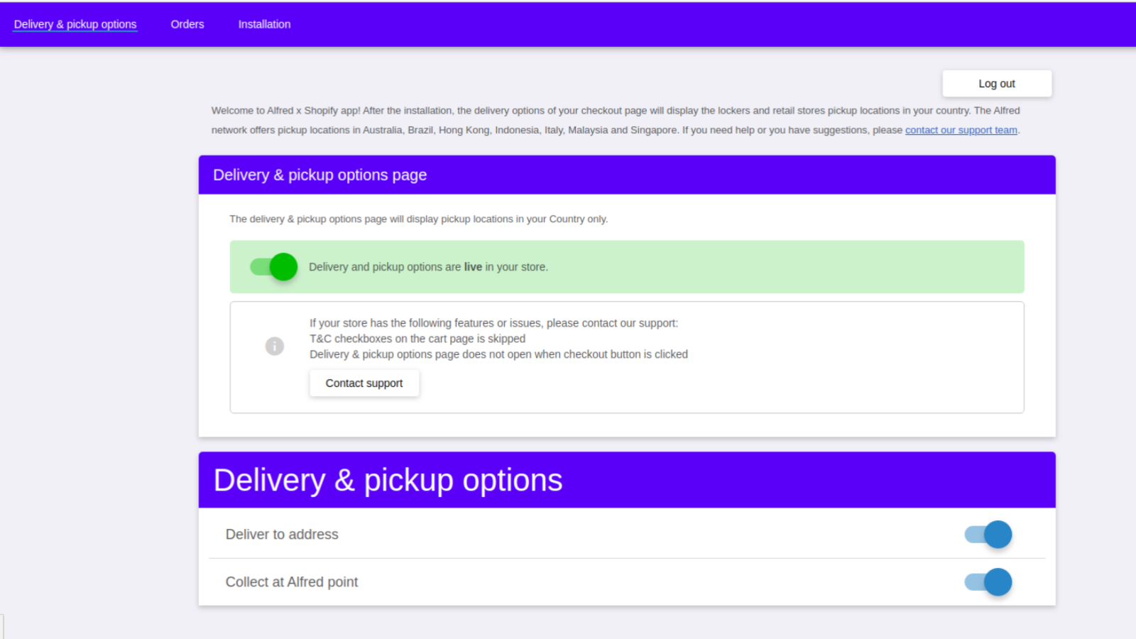 Delivery and pickup options