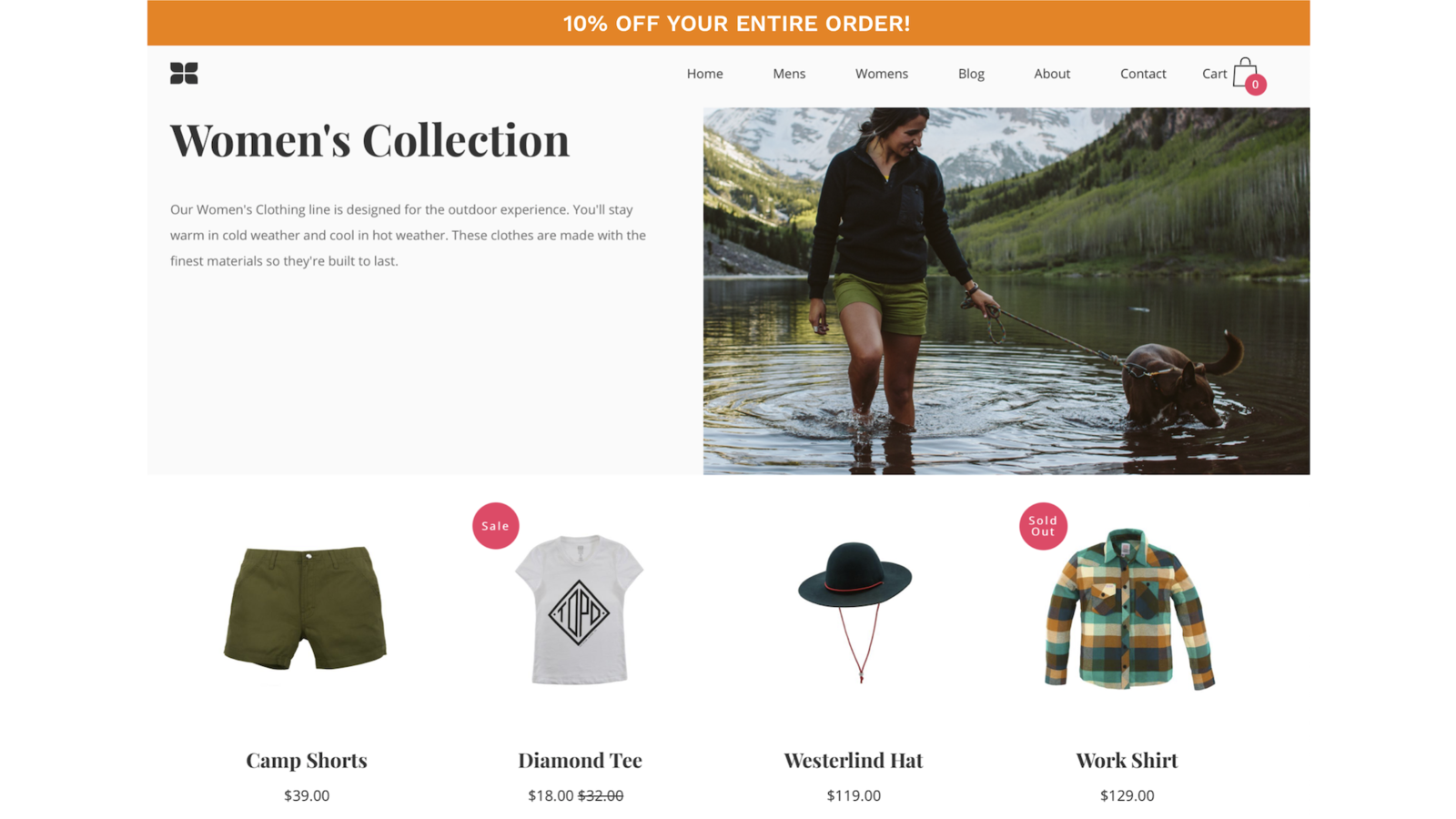 Discount banner at the top of store pages. Style is configurable
