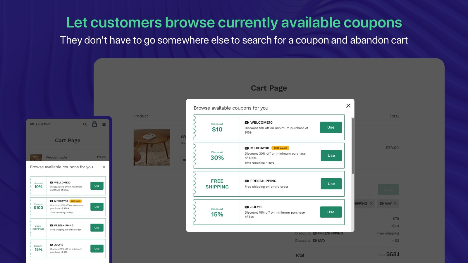 Browse valid coupon code, coupon listing, discounted upsell