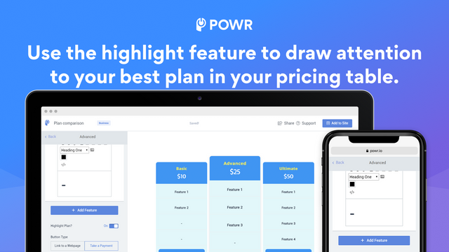 Use the highlight feature to draw attention to your best plan