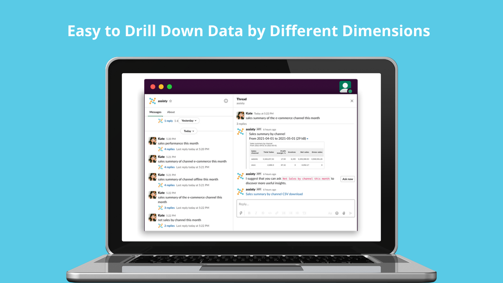 You can see the drilldown reports and download .CSV file