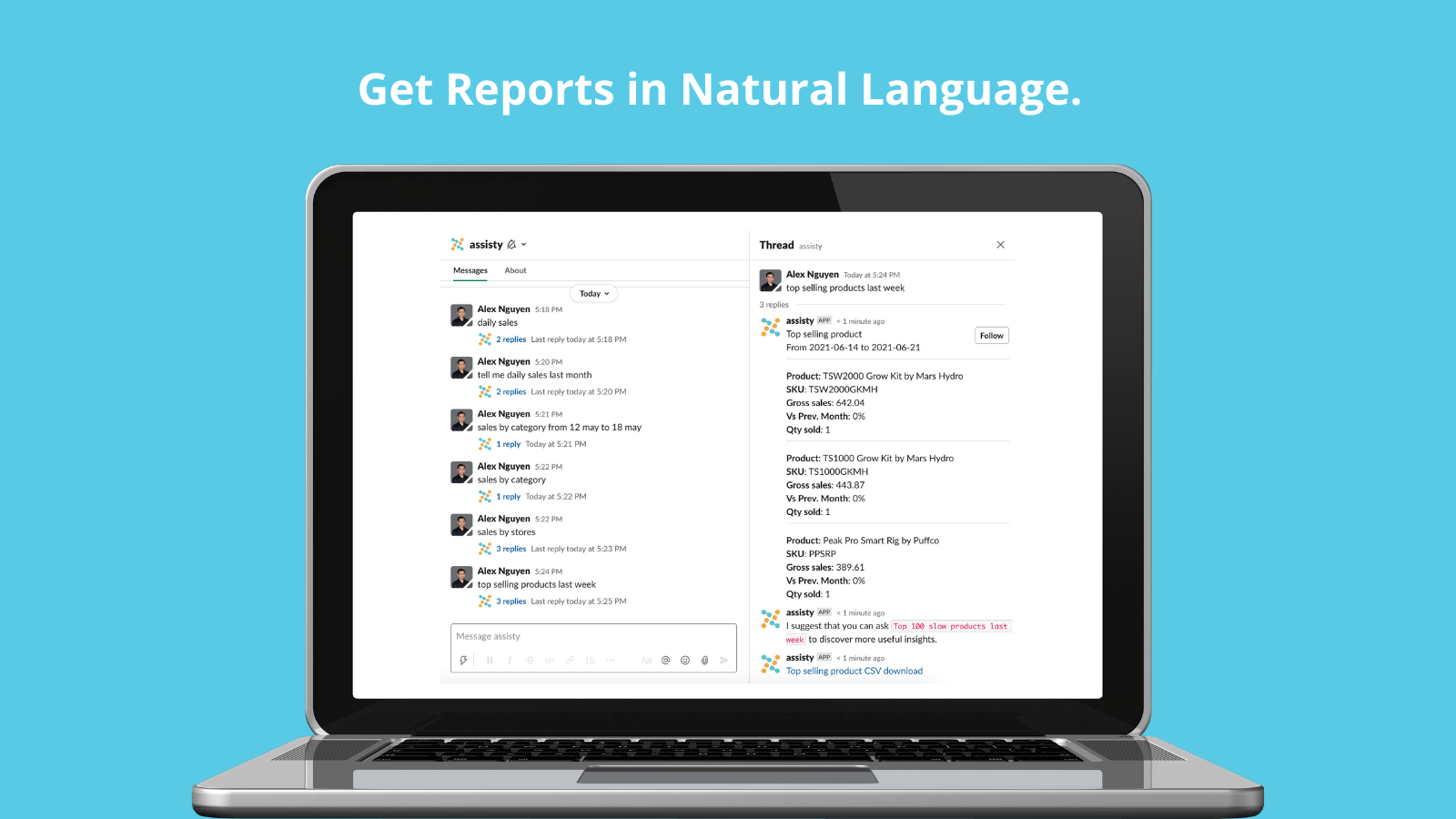 Get reports in natural language