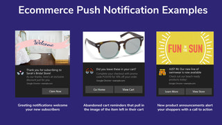 Examples of different applications of push notifications.