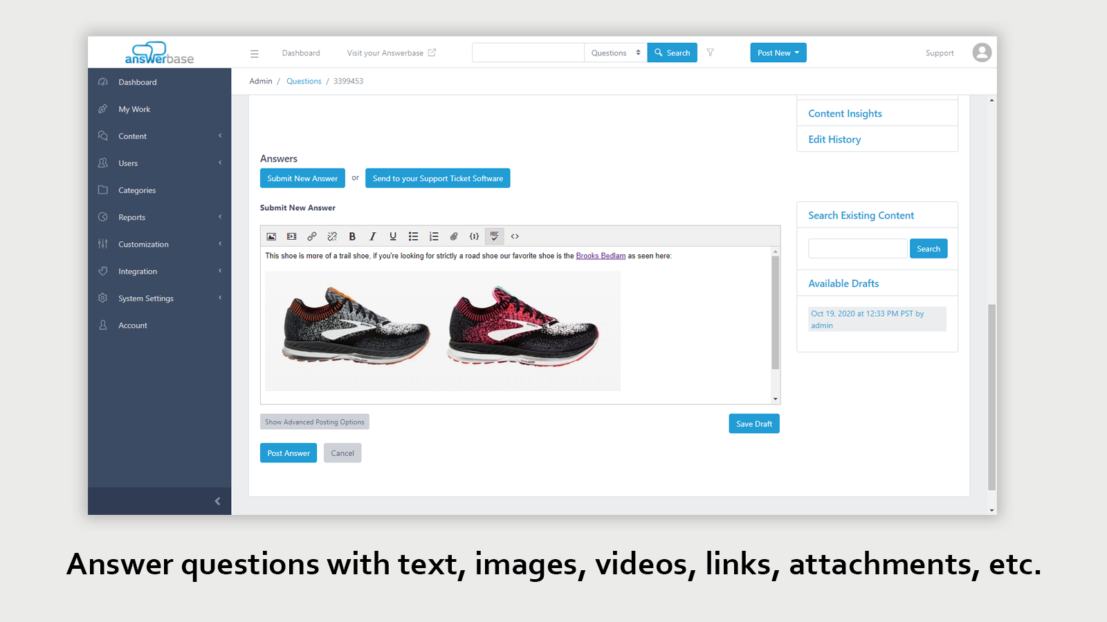 Create answers and articles with text images and video