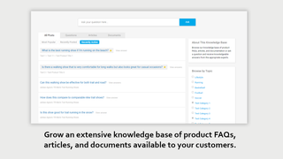 Extensive knowledge base of product FAQs, articles, & documents