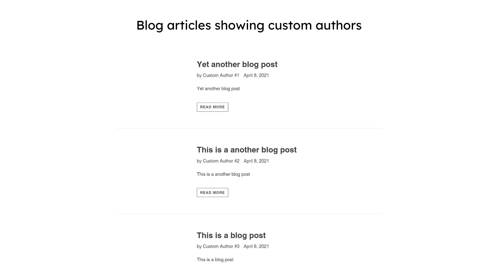 Blog articles showing custom authors