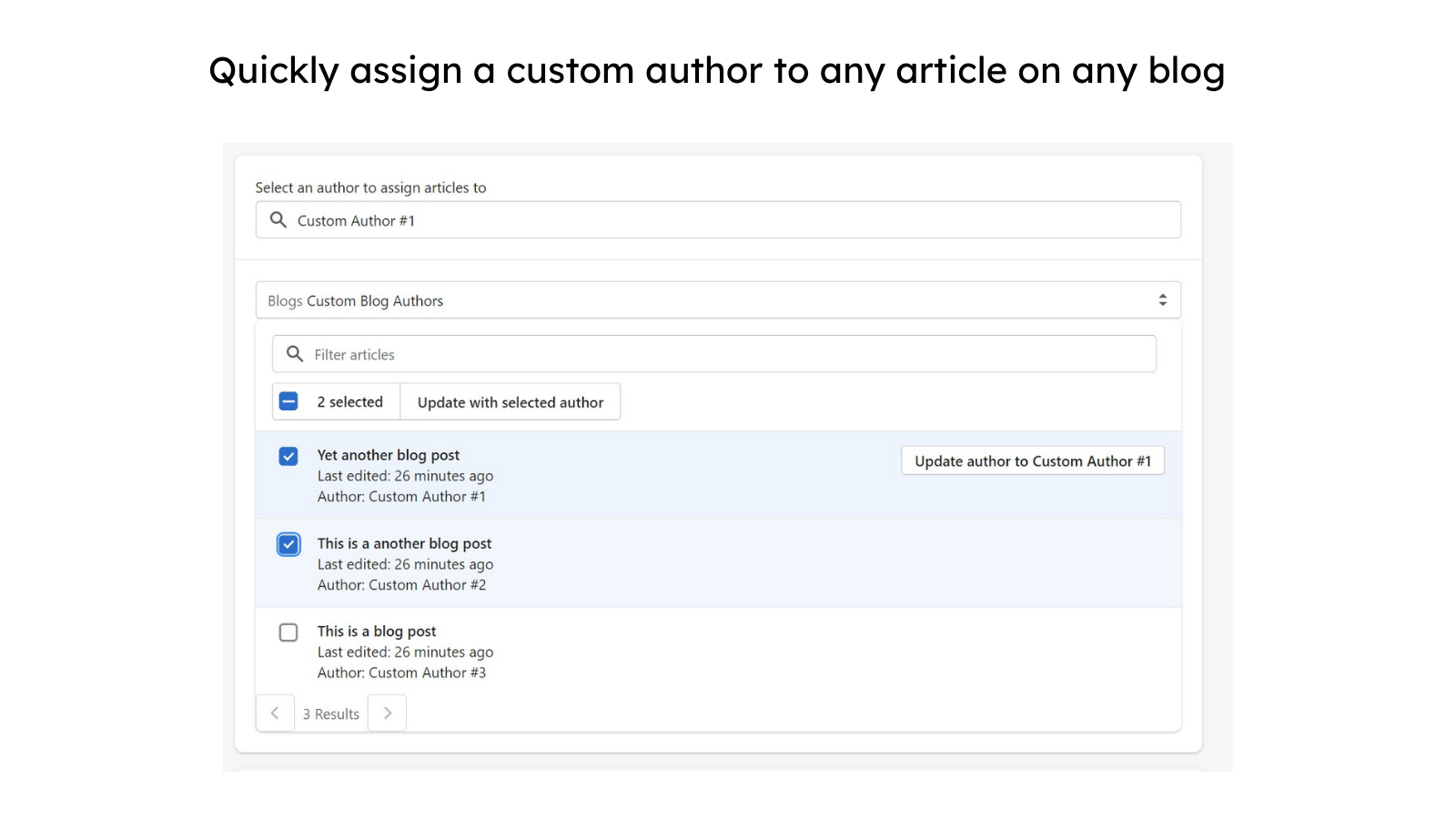 Quickly assign a custom author to any article on any blog