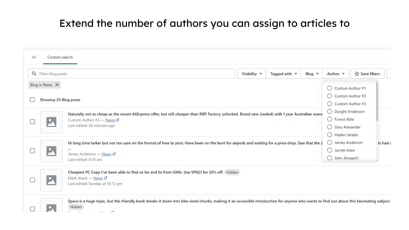 Extend the number of authors you can assign to articles to