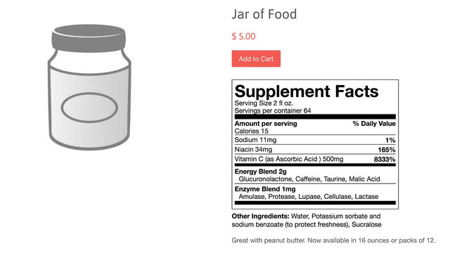 Product with supplement facts label