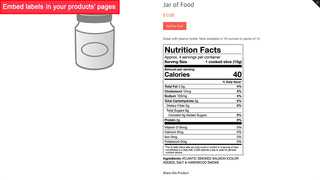 Product with FDA 2018 vertical nutrition facts label
