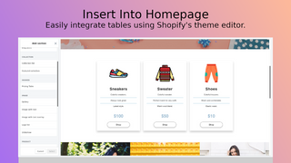 Insert table using Shopify's theme editor.