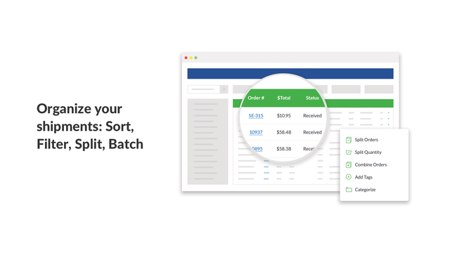 Organize your shipments: Sort, filter, split, and batch