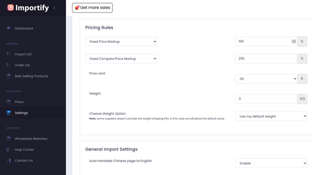 importify dashboard settings page