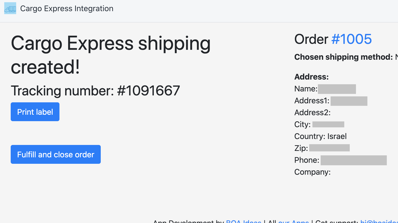 Get tracking number information and use it to fulfil the order