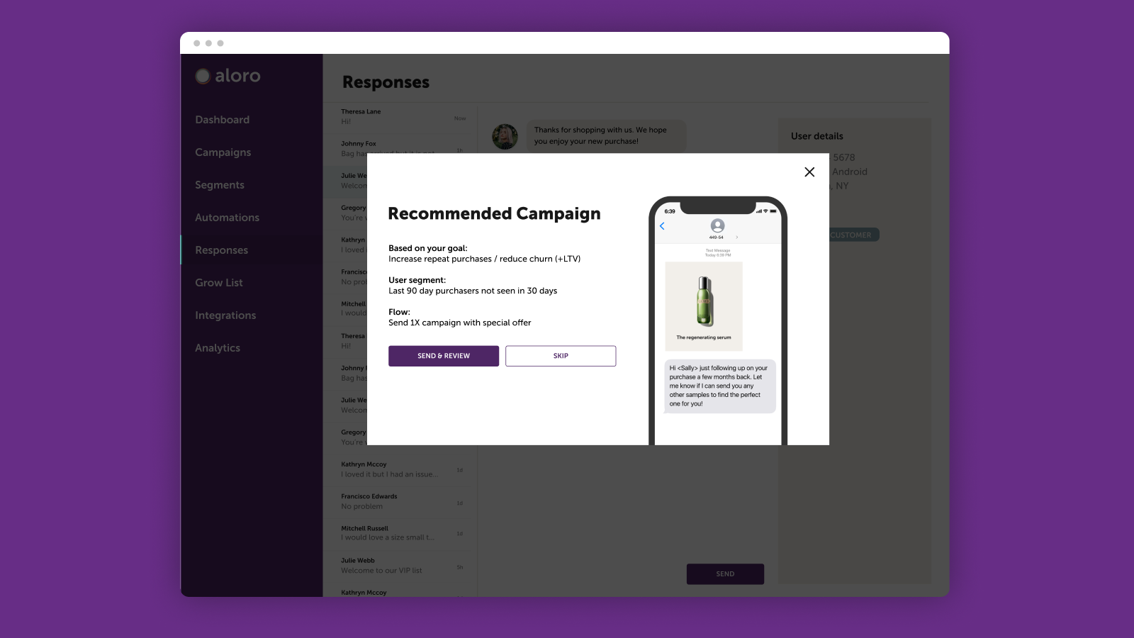 Send segmented campaigns and recommendations