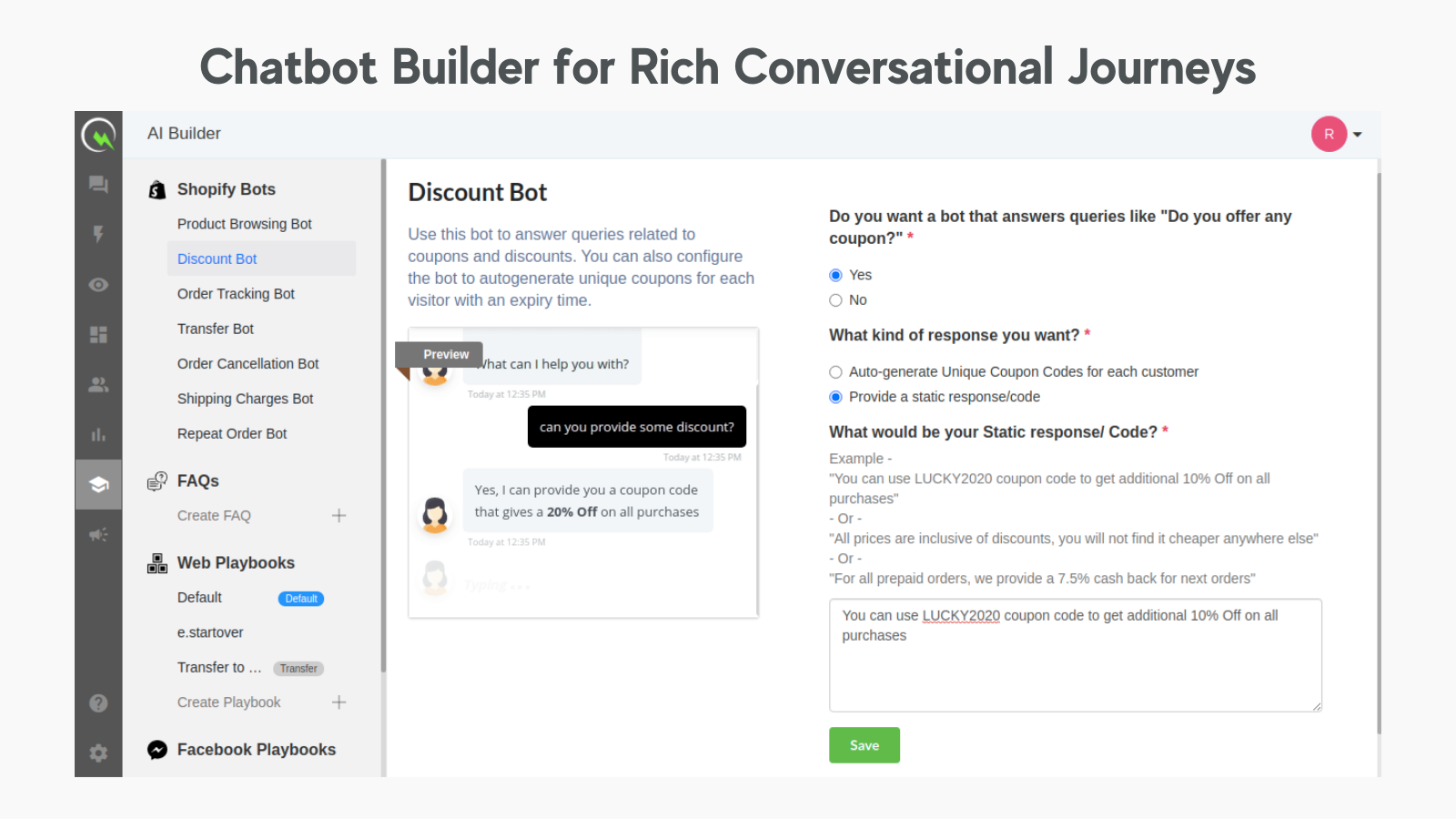 Seamlessly Customise Chatbots by Answering Simple Questions