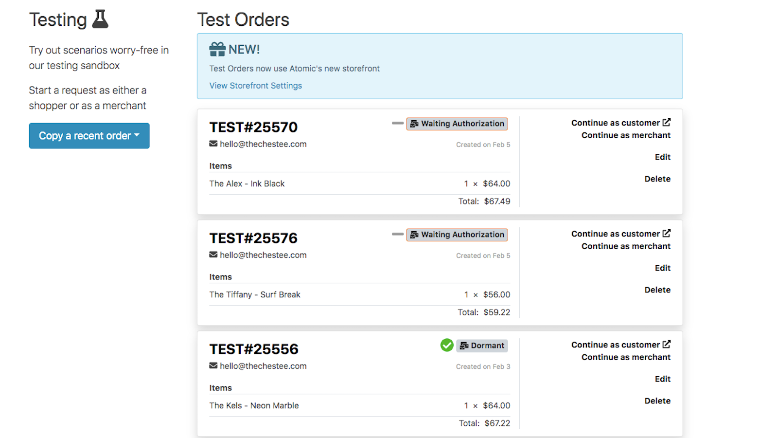 Test sandbox to test any return before going live