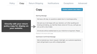 Directly edit return policy text for the portal