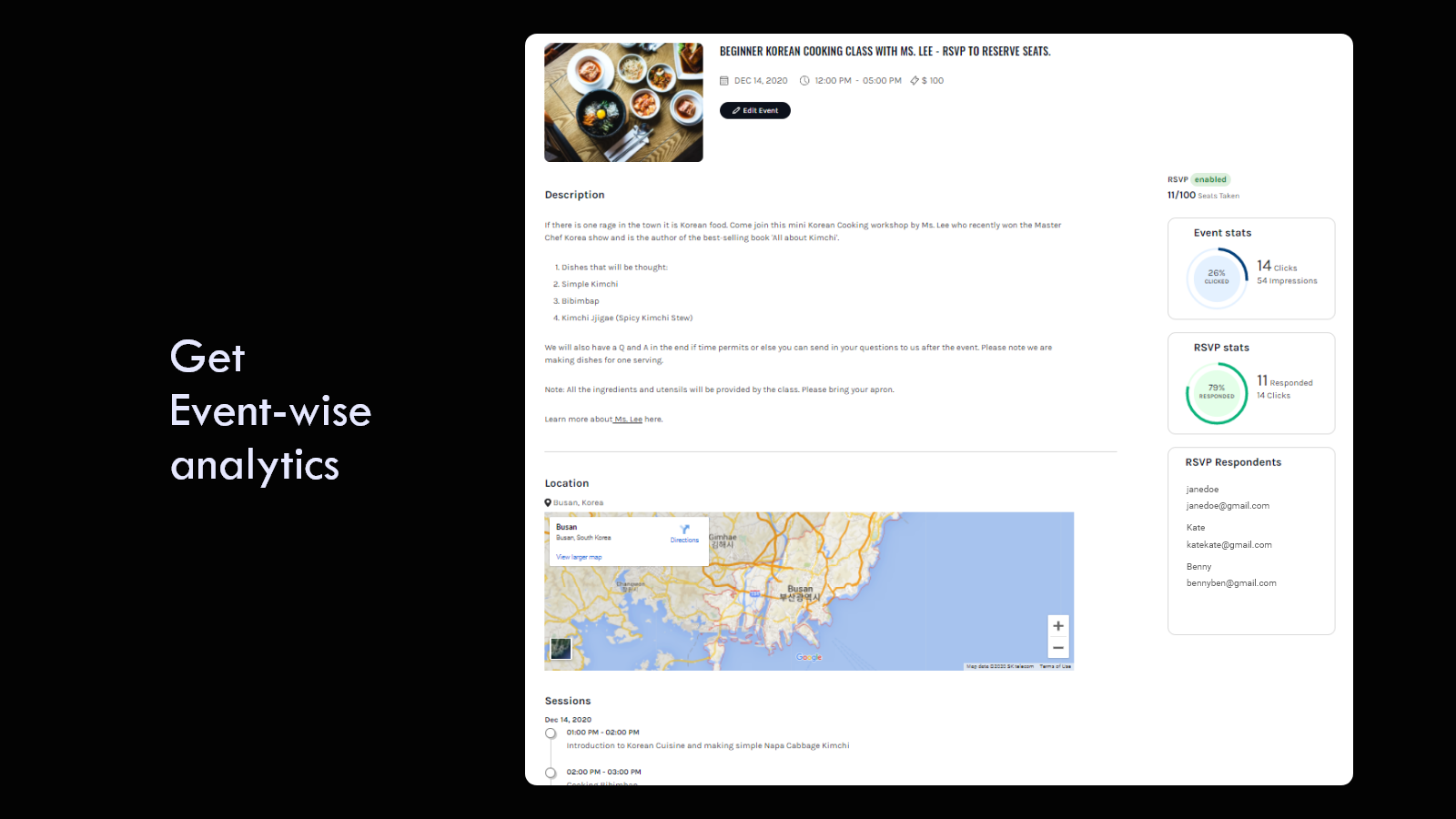 Get event-wise statistics like visitors and RSVP respondent rate