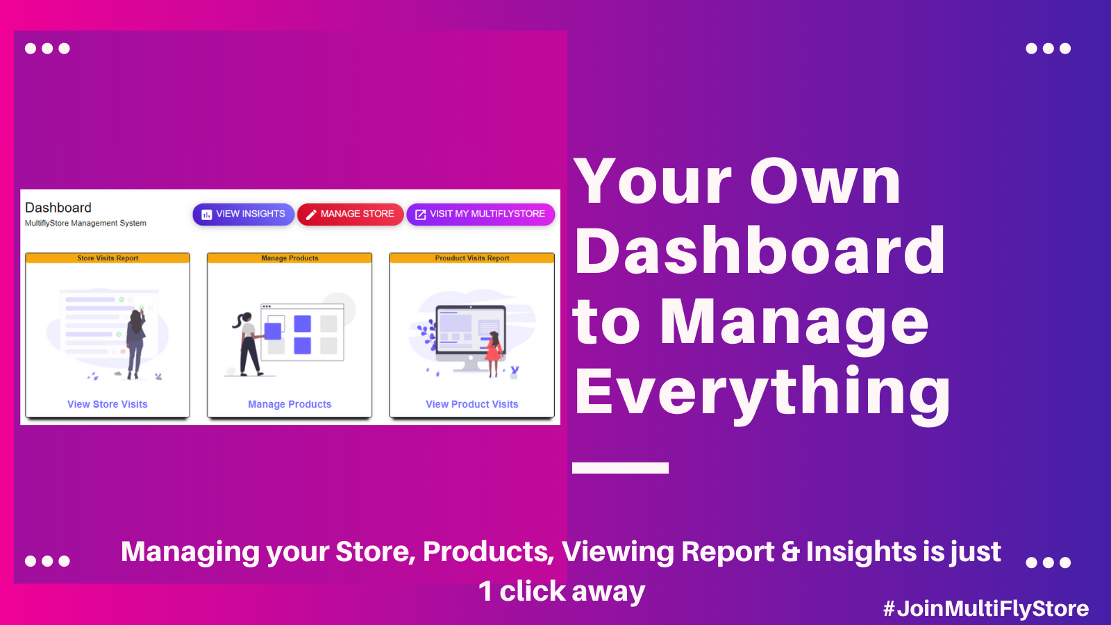 Get a dedicated dashboard to manage your MultiFlyStore