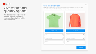 Display variant and quantity options in the offer modal