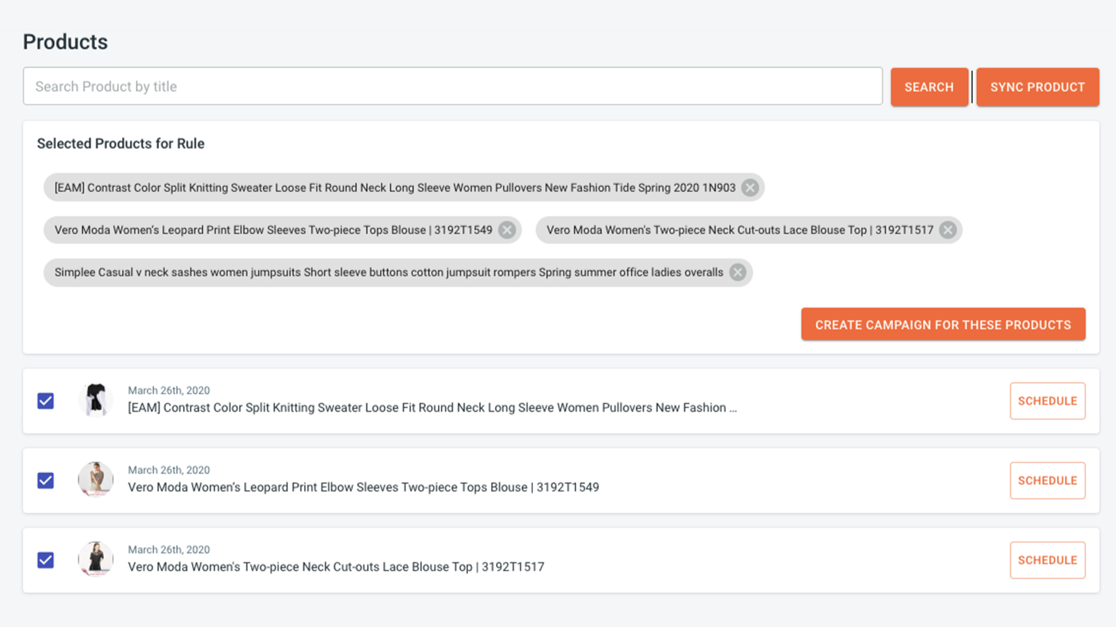 Select Products to Post (Create Campaigns)
