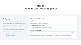 Step 2: Configure Your Donation and/or Round up