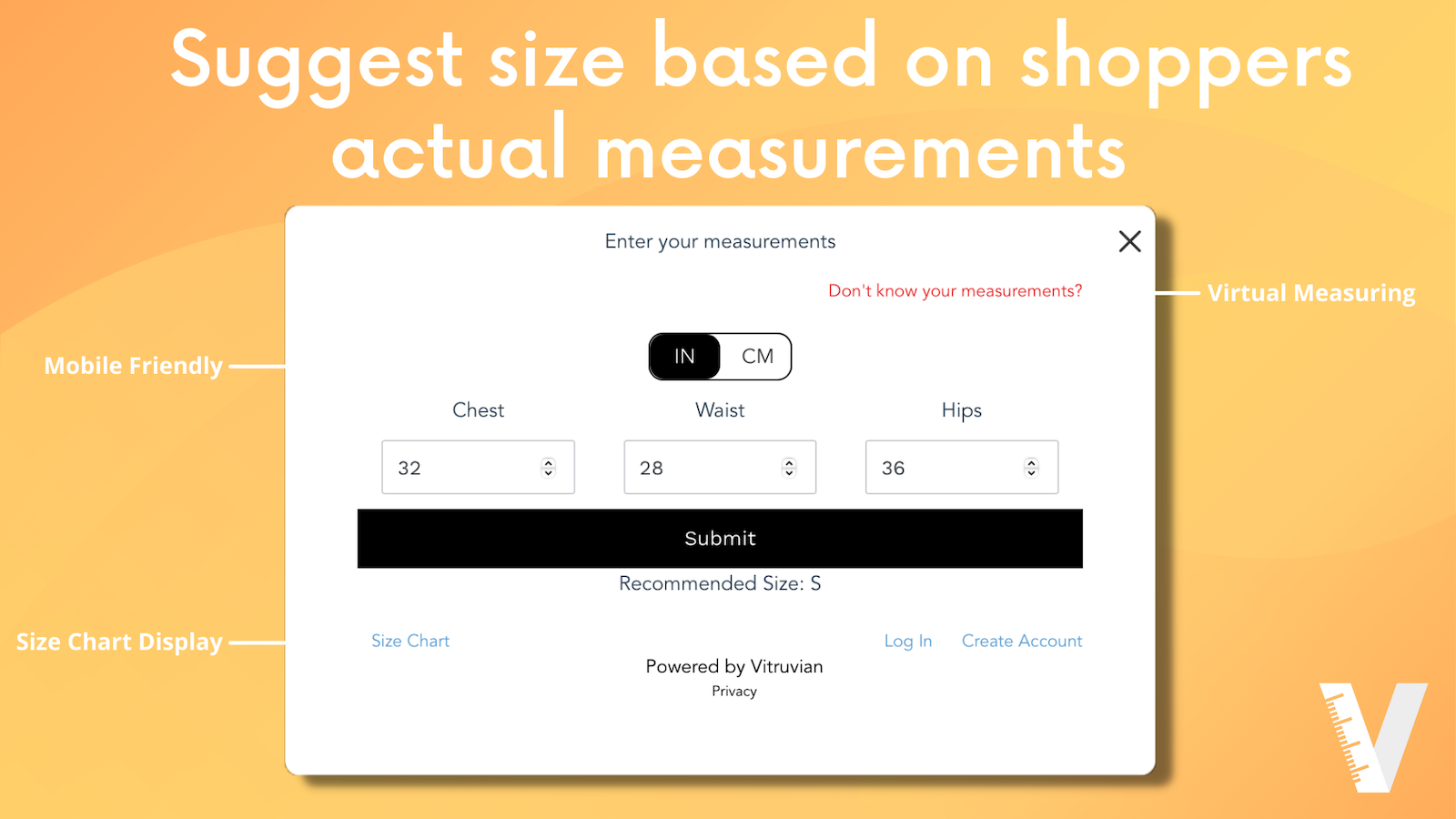Shoppers get suggested a size based on their actual measurements