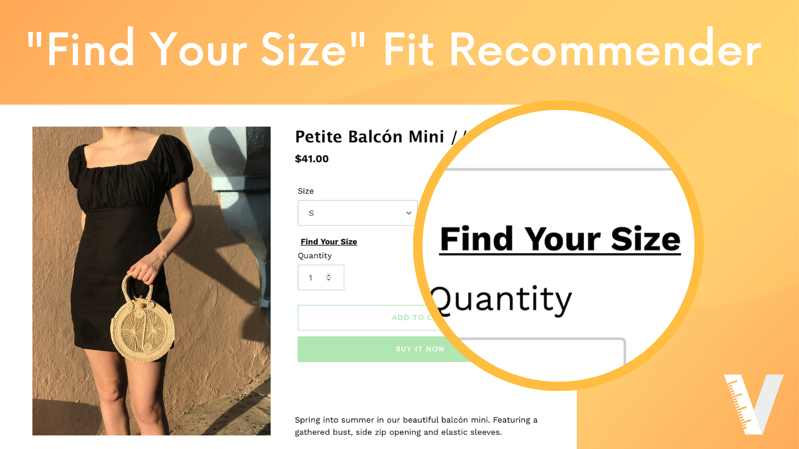 Find Your Size widget on product page