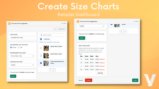 Create size charts in the retailer dashboard