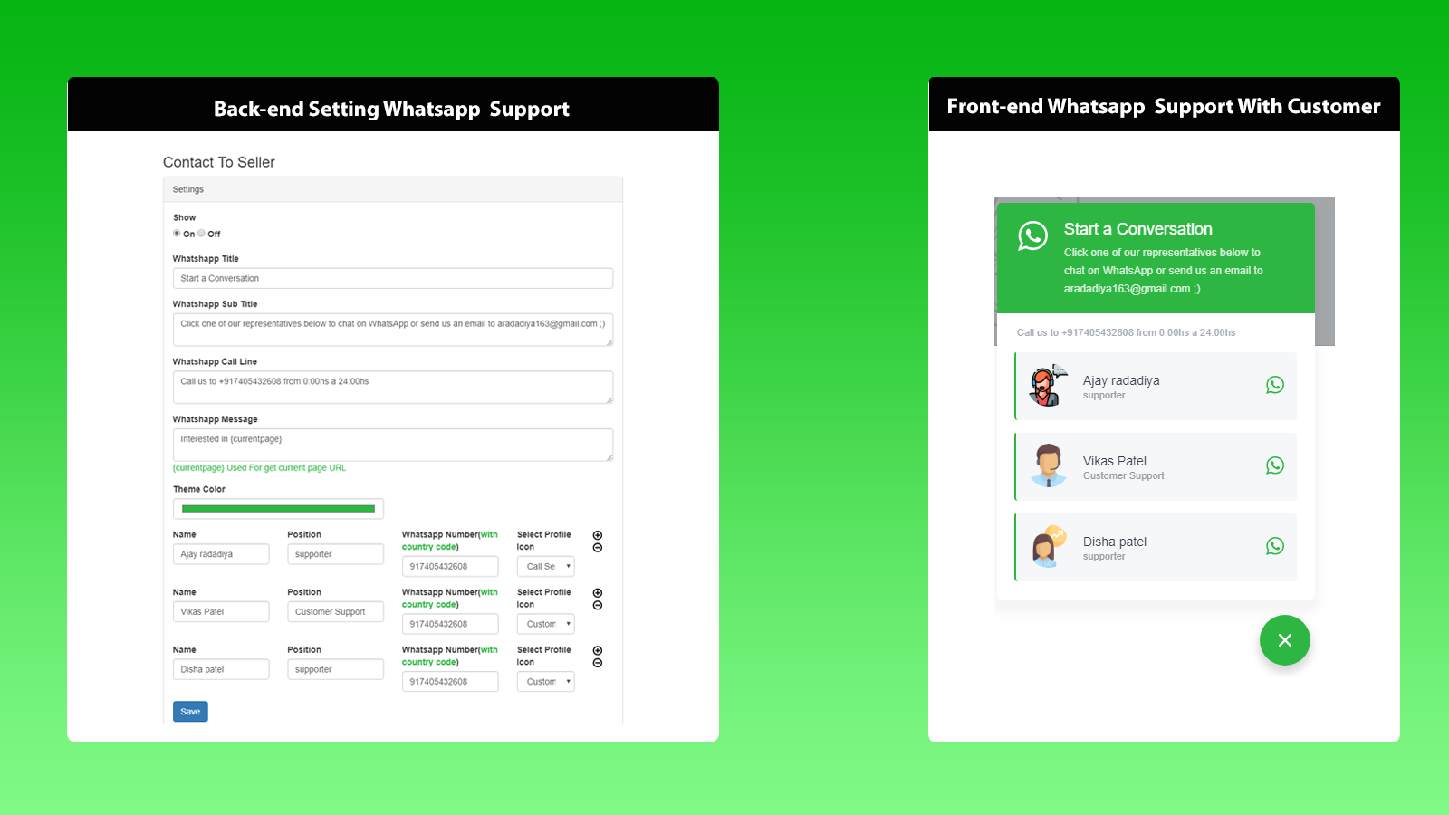 Front-end Whatsapp  Support With Customer