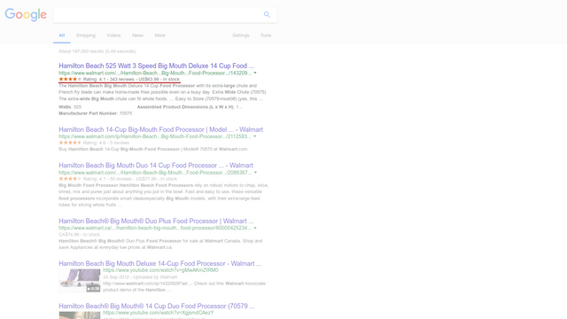 Product information appears directly in search results.